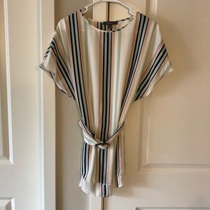 Striped top with belt